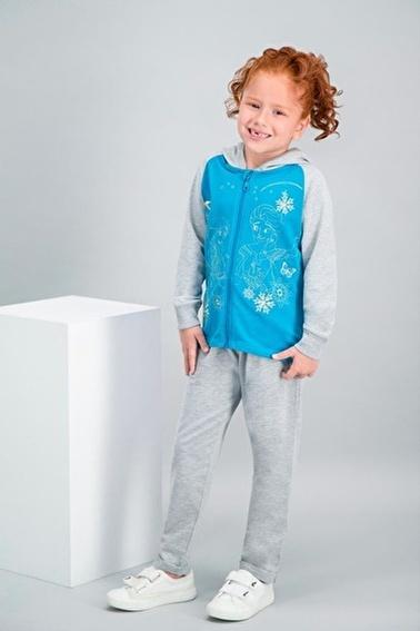 Frozen Karlar Ülkesi - Frozen Lisanslı Lacivert Kız Çocuk Kapüşonlu Eşofman Takımı Yeşil